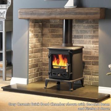 Gallery Grey Ceramic Brick Bond Fireplace Chamber Panels